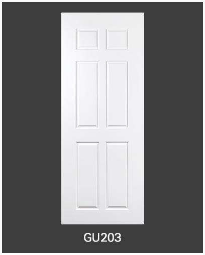 ประตู uPVC 6 ช่องตรง GU-003/203 80*200 สีขาว ไม่เจาะลูกบิด Green Plastwood