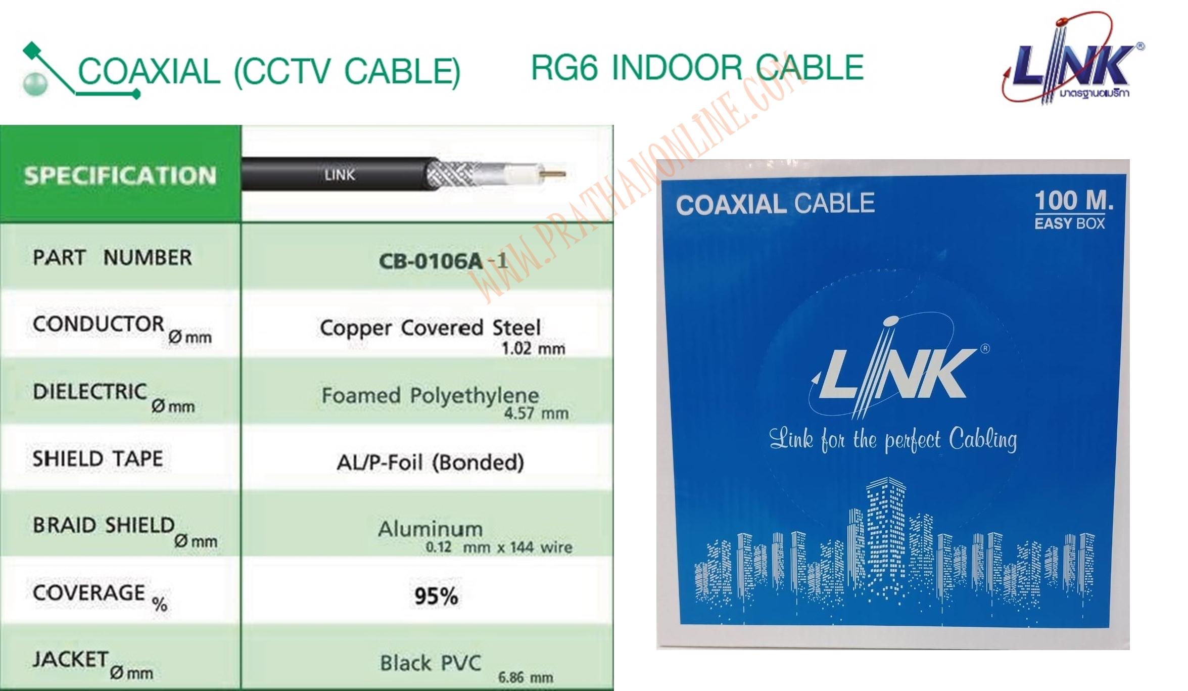 CB-0106A-1 RG6/U สีดำ ชีล95% (กล่อง 100 เมตร) LINK